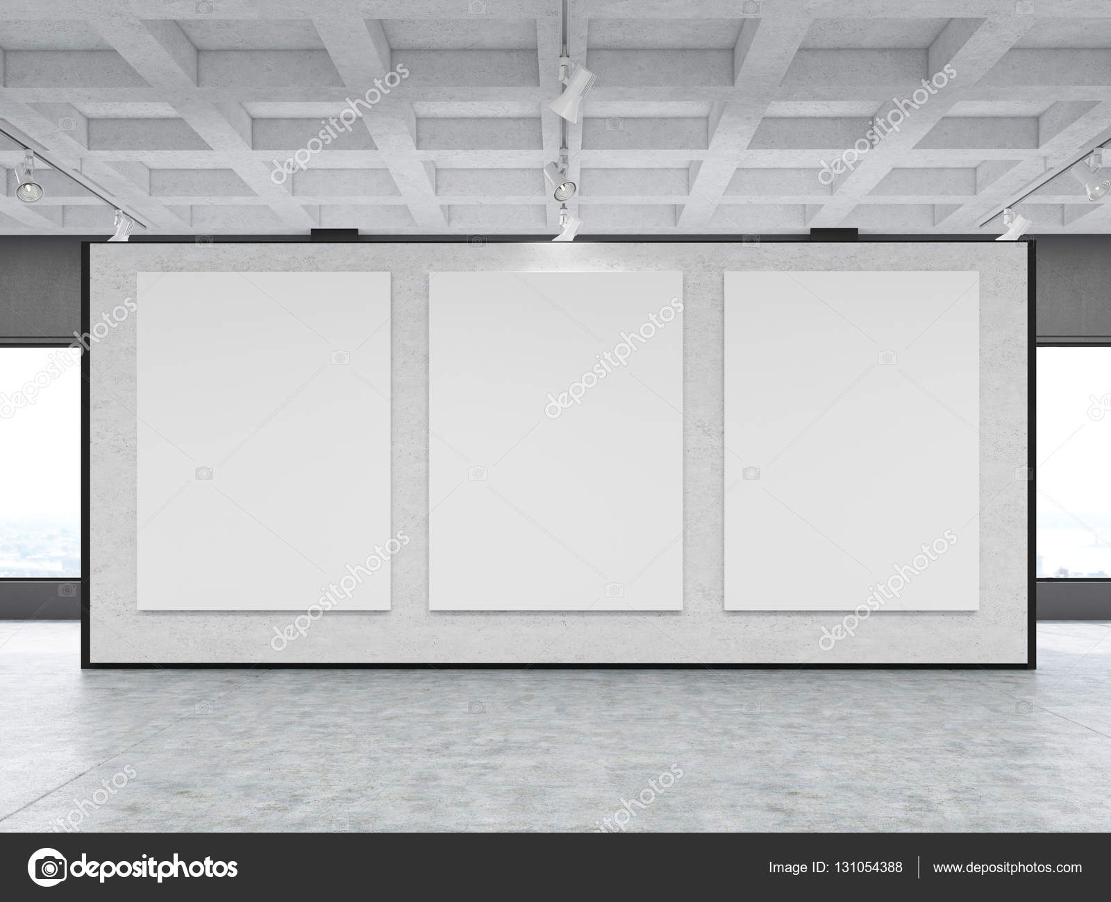 Schon Vorderansicht Der Drei Großen Vertikalen Poster Liegt Auf Eine Graue Wand  In Einer Galerie. Konzept Der Modernen Kunst Und Marketing. 3D Rendering.