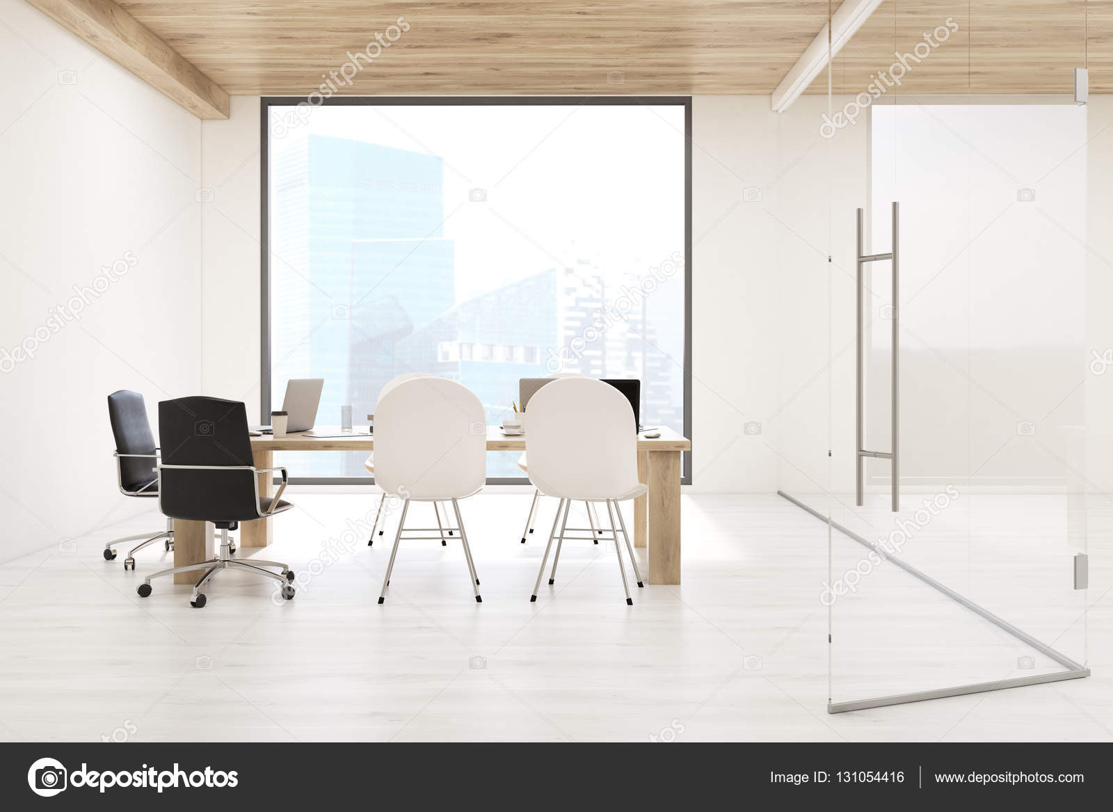 Board Room With Square Window Stock Photo Denisismagilov - Large square conference table