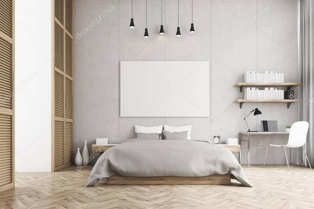 Vue de face d un lit king size et un coin bureau dans une chambre coucher photographie - Foto chambre a coucher ...