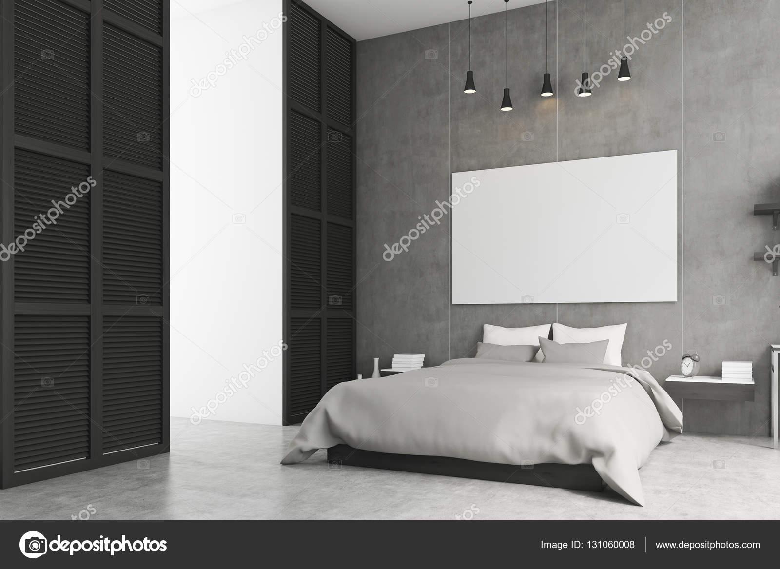 Schlafzimmer Mit Poster Und Ein Fenster In Eine Schwarze Wand U2014 Stockfoto