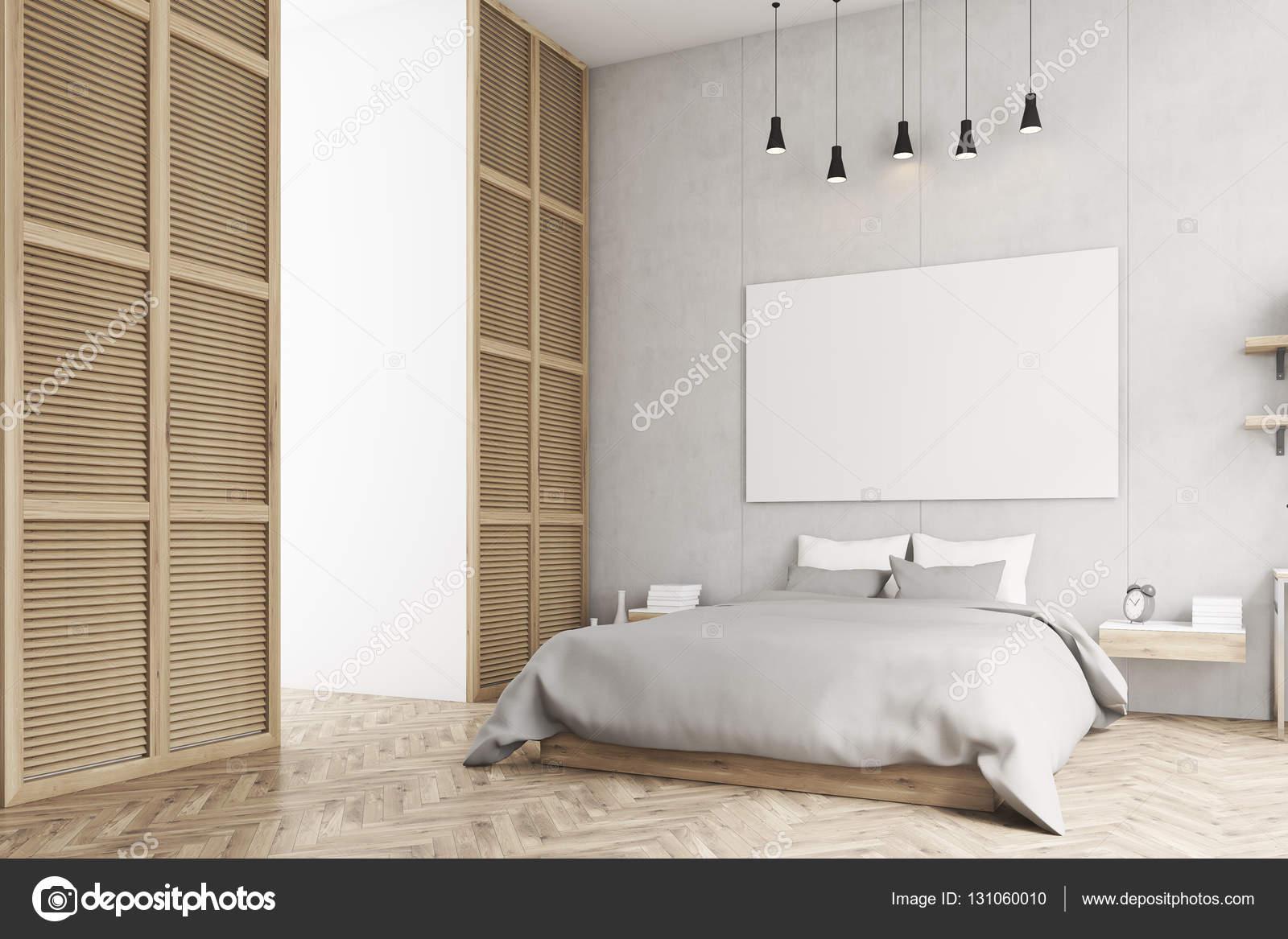 Slaapkamer met poster en een venster in een beige muur — Stockfoto ...