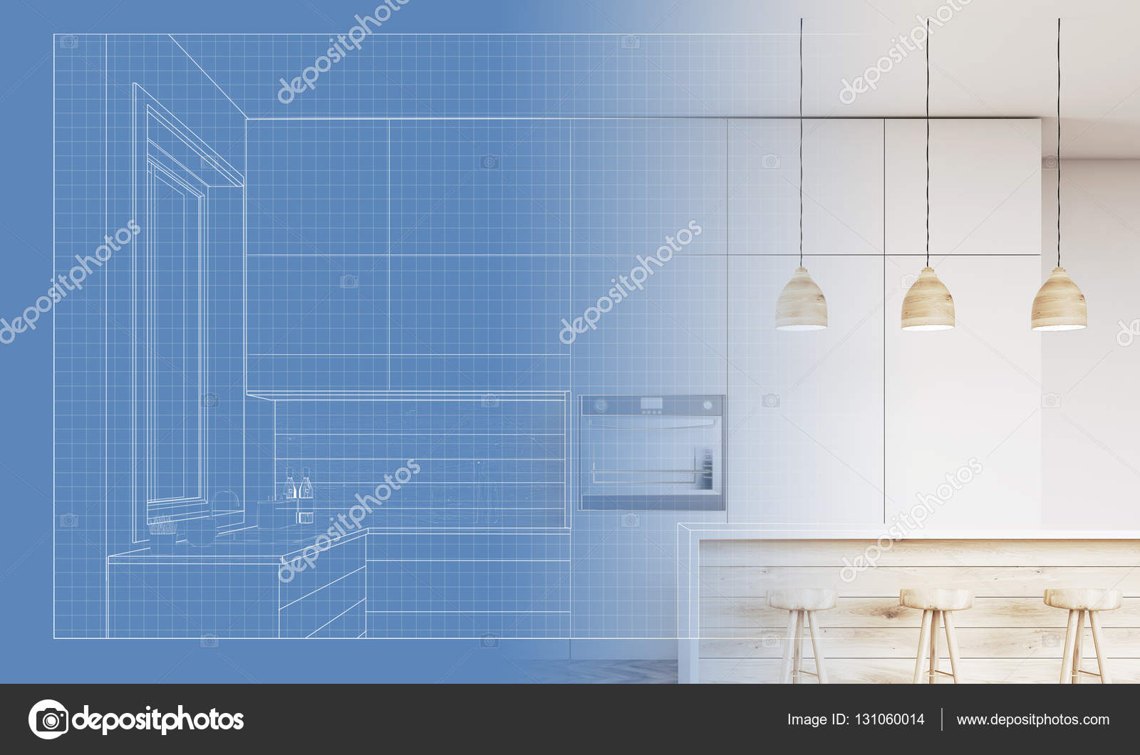 Blueprint Of A Kitchen And Its Implementation Stock Photo