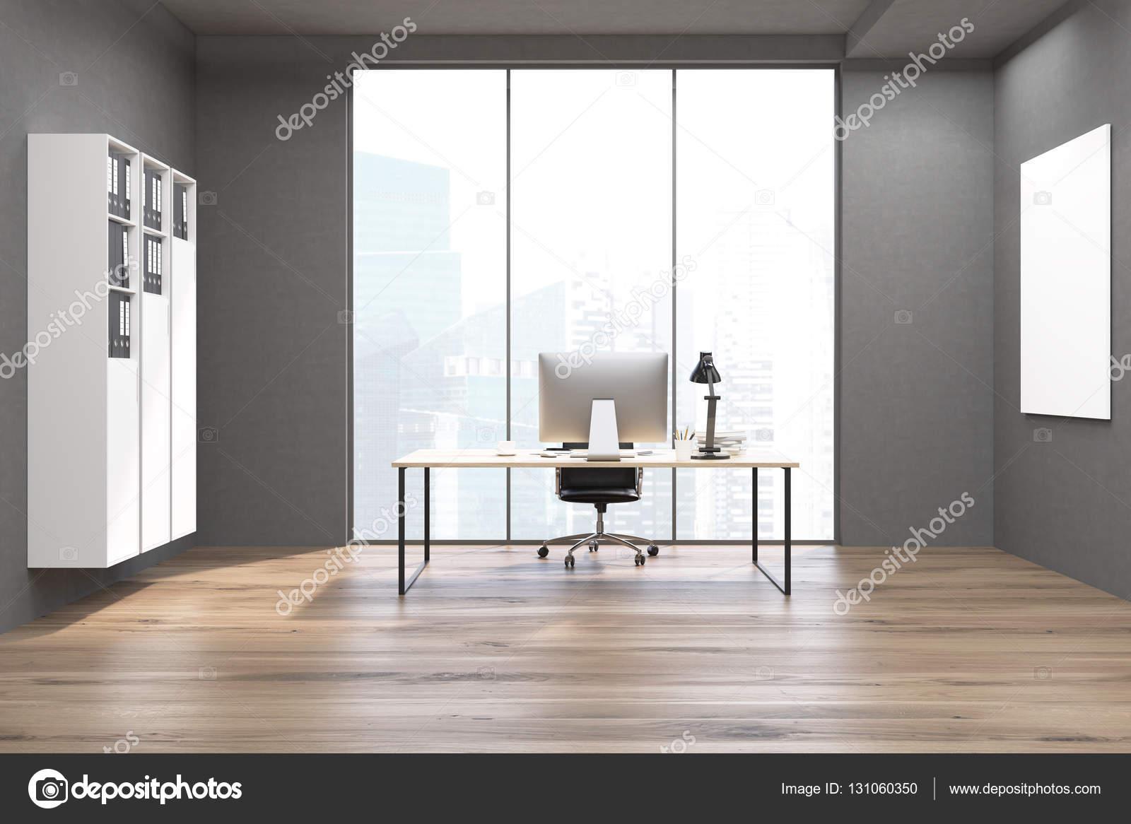 CEO bureau met boekenkast, computer en poster — Stockfoto ...
