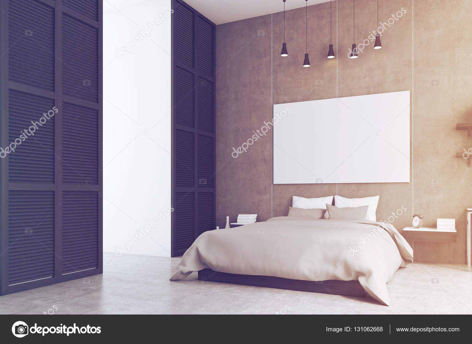 Camera da letto con poster e una finestra in un muro nero tonica foto stock denisismagilov - Poster camera da letto ...