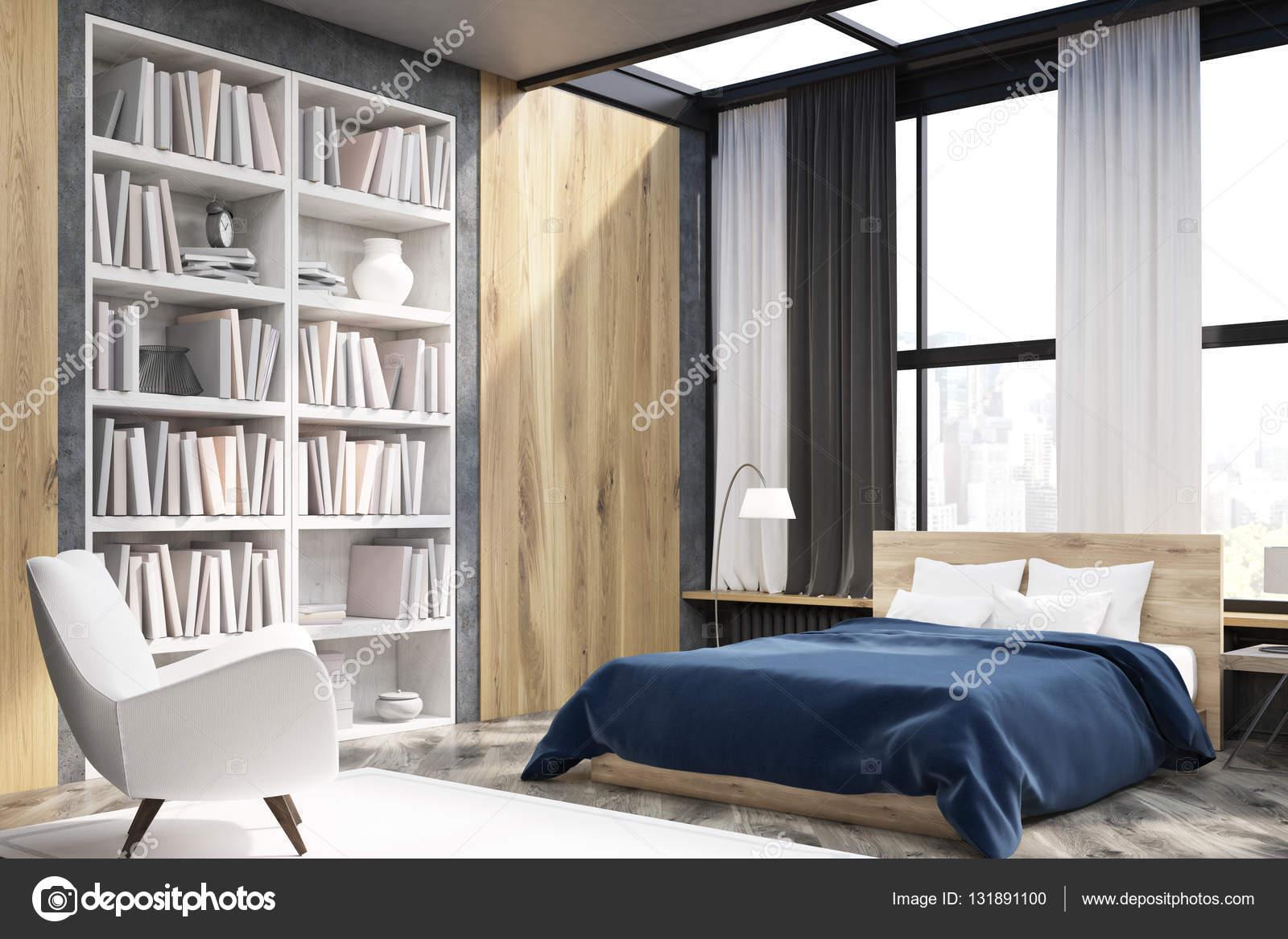 Hoek van slaapkamer interieur met boekenkast — Stockfoto ...