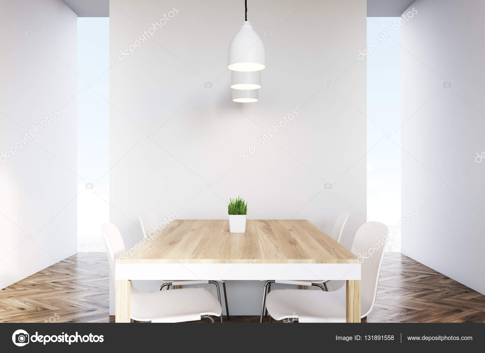 Close Up Of A Dining Table In An Empty Kitchen Stock Photo