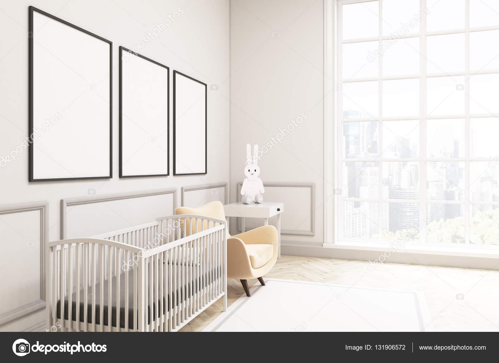Vista Lateral De Um Quarto De Beb Com Uma Lebre E Tr S Poster  ~ Quarto De Bebe Parede Com Poster Decoração Quarto