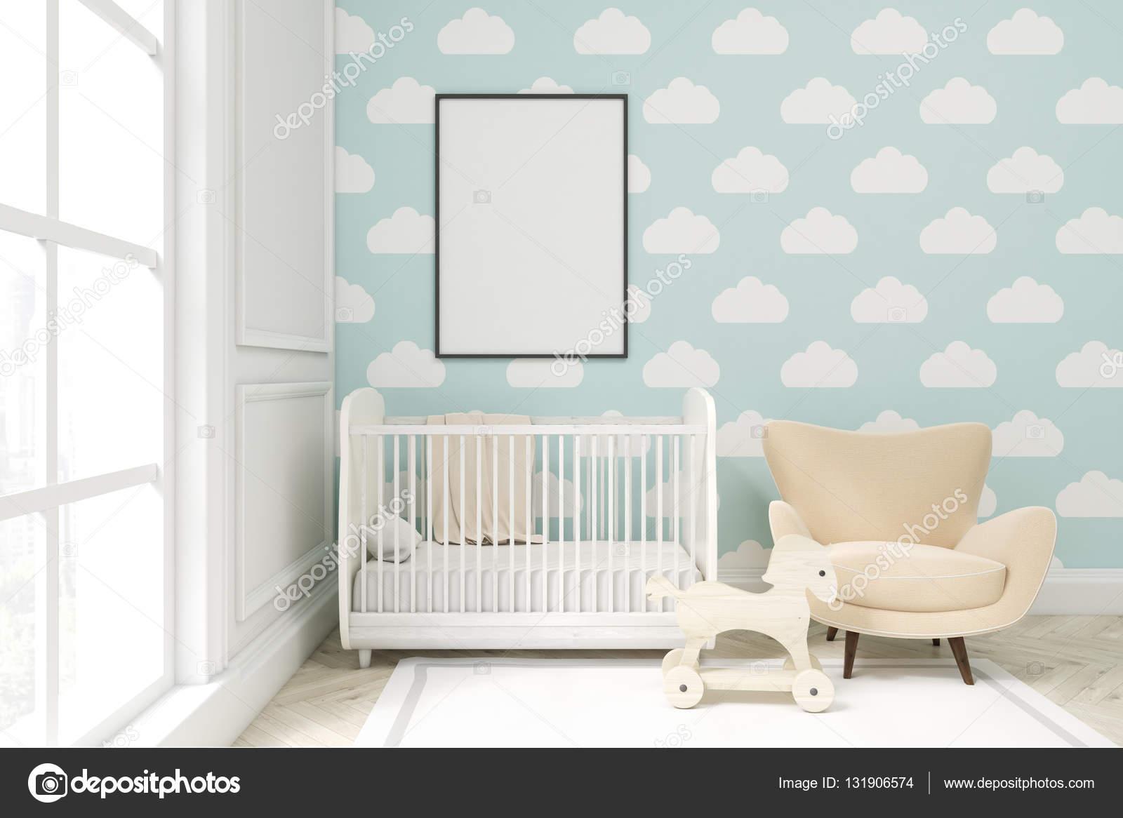 Gros plan d une chambre d enfant avec nuage papier peint - Papier peint pour chambre d enfant ...