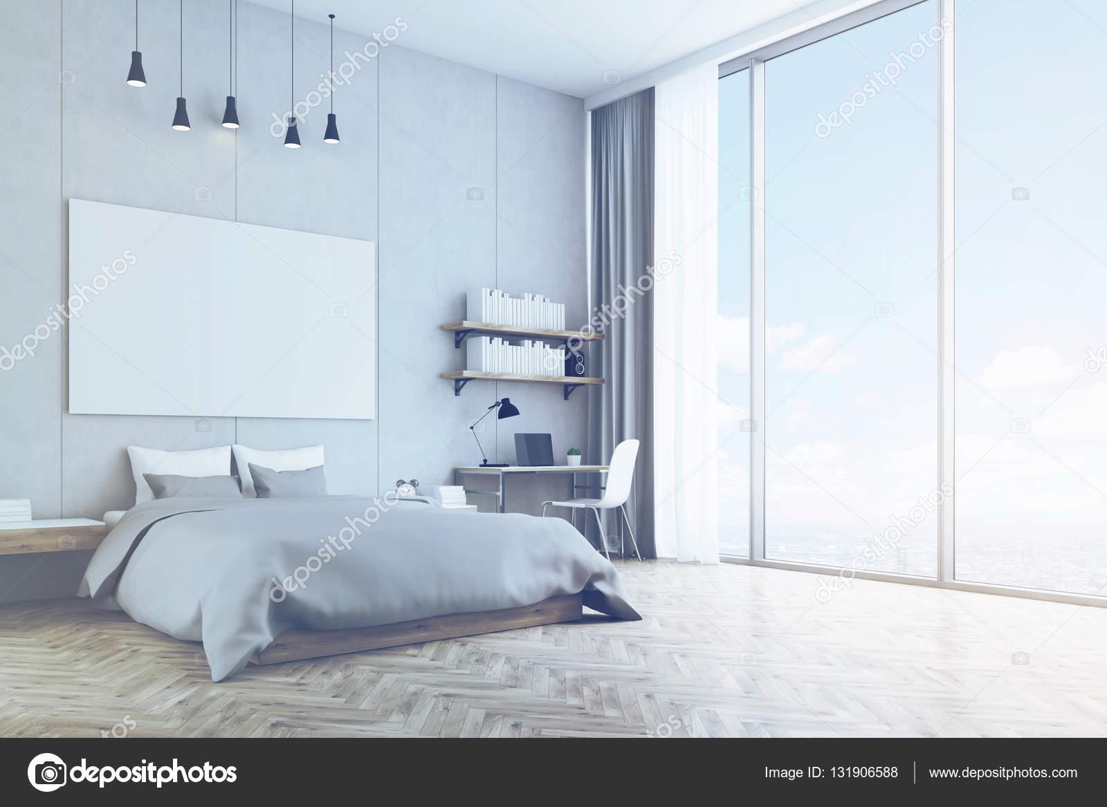 Camera da letto con muro di cemento e pavimento in legno - Pavimenti per camere da letto ...