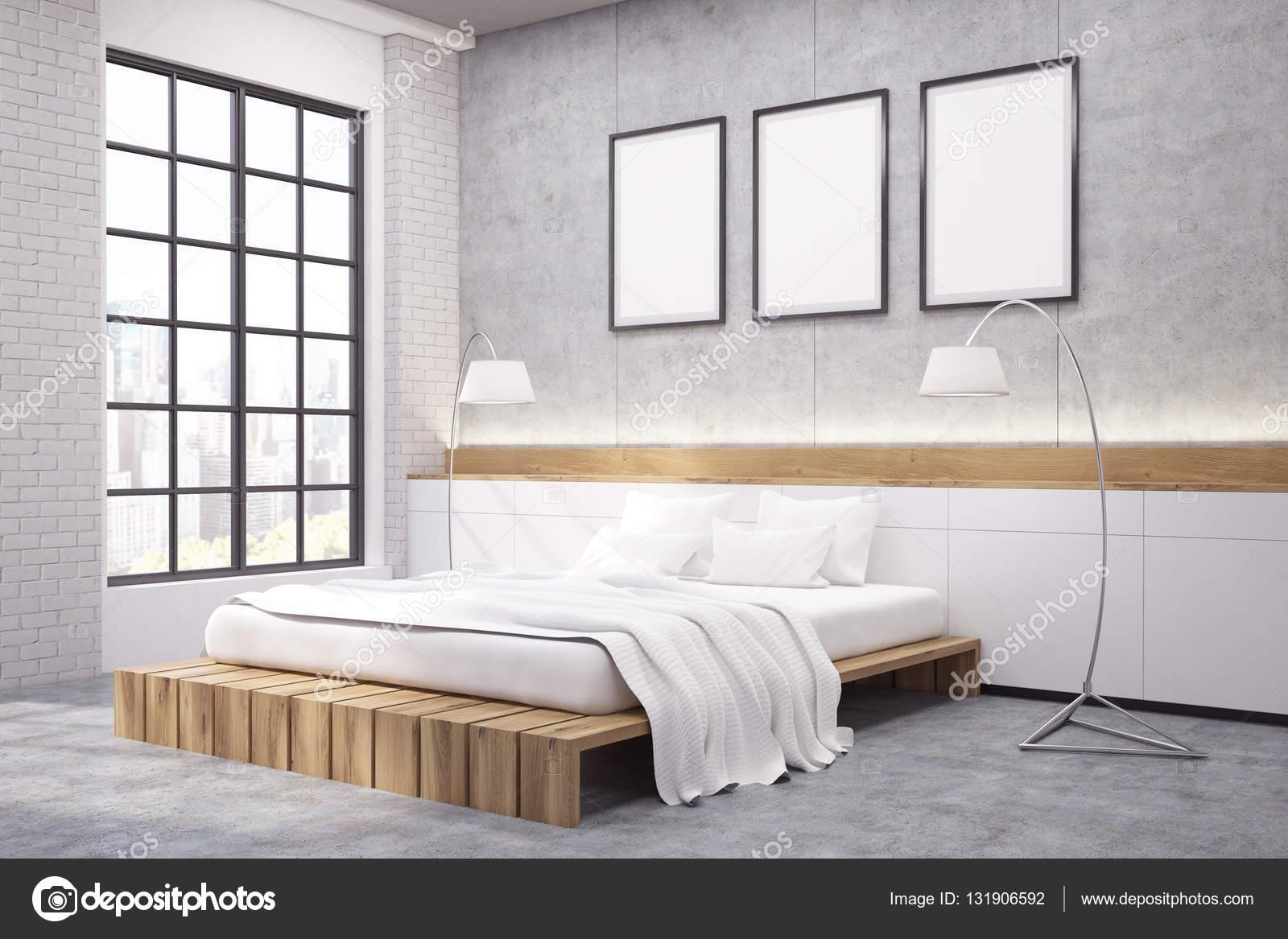 Narożnik Sypialnia Z Podwójnym łóżkiem Trzy Plakaty I Tw