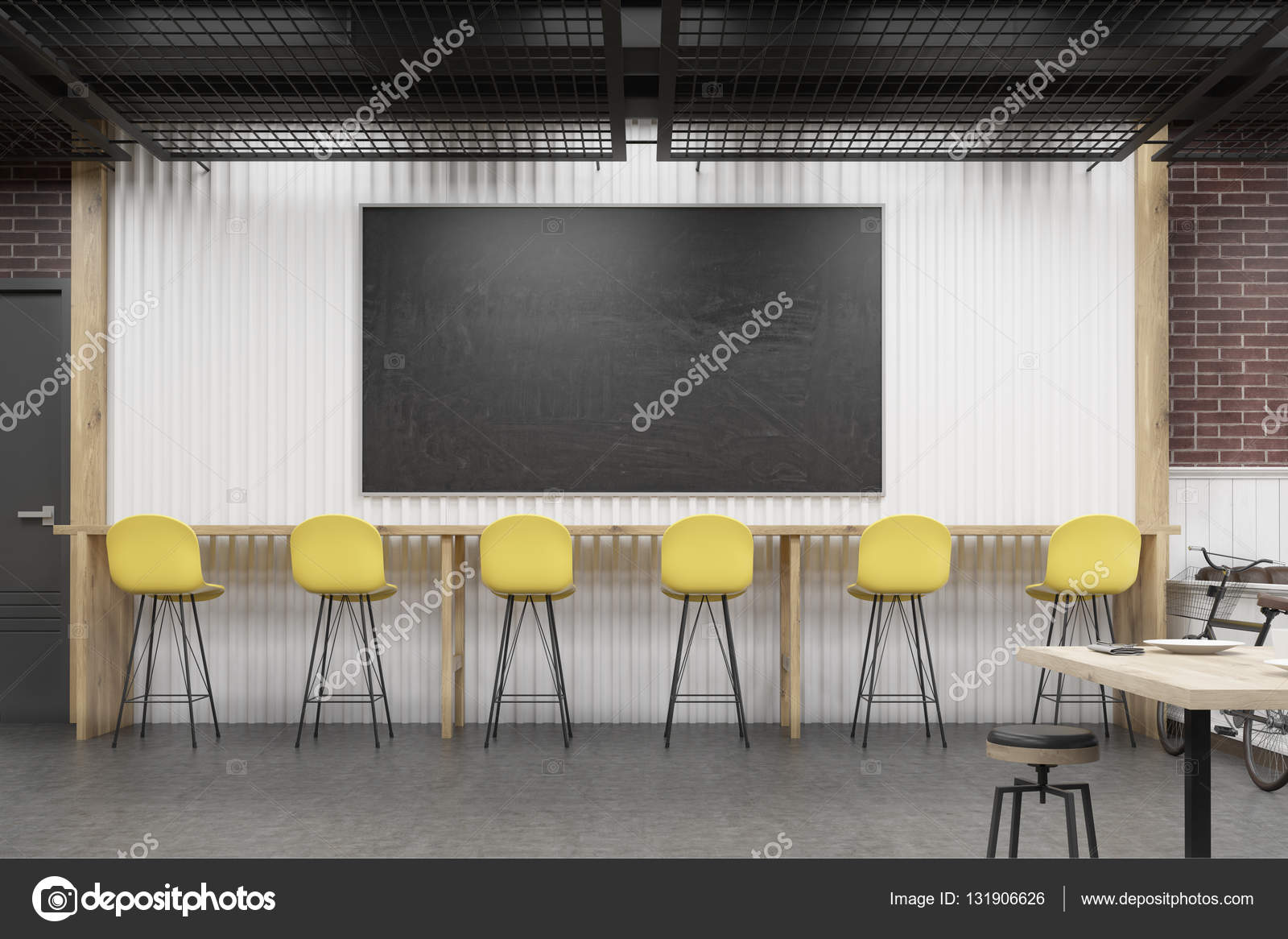 cafe interior with a chalkboard and a row of yellow chairs — stock