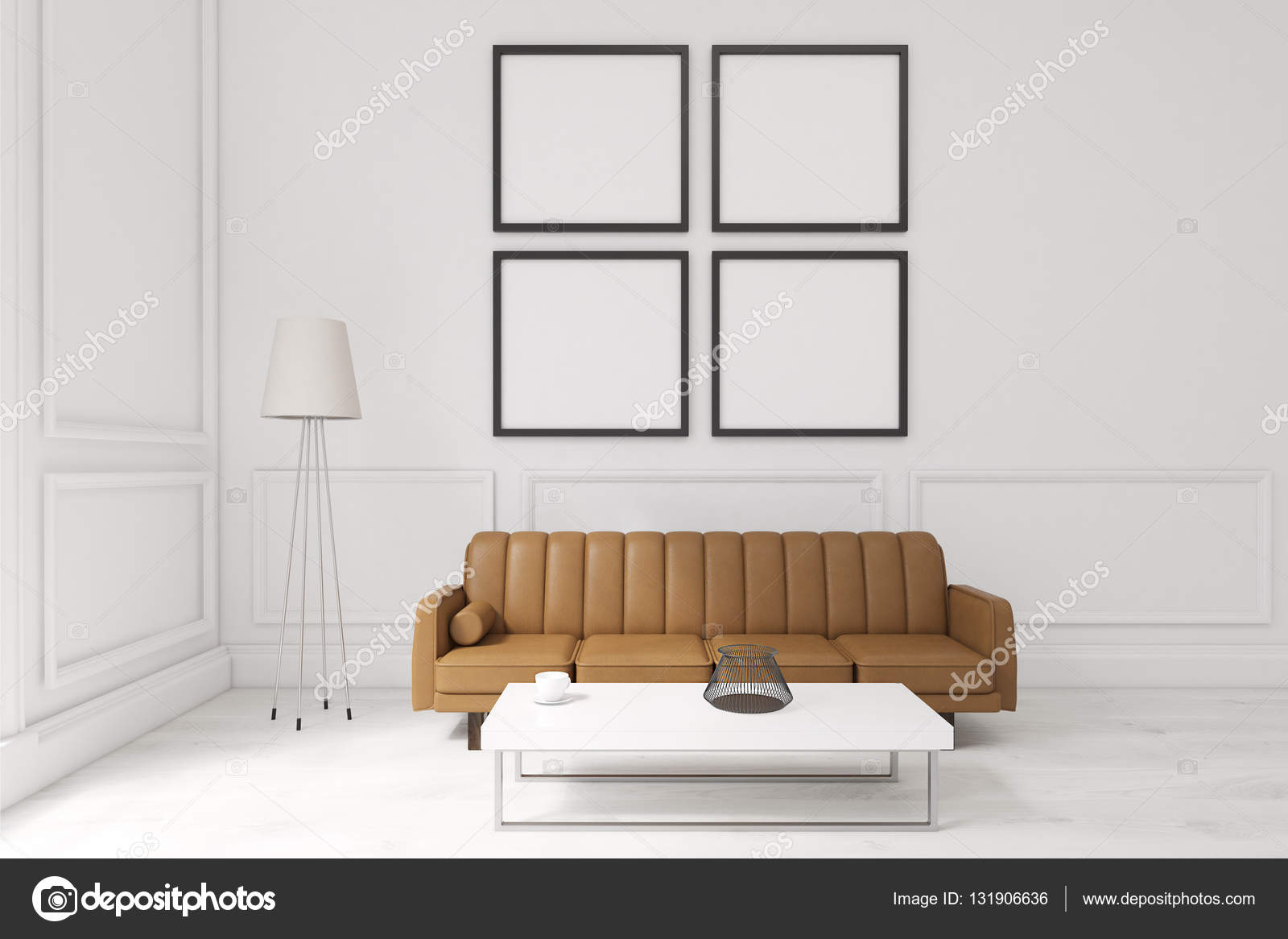 Living room with four posters, brown sofa and a coffee table — Stock ...