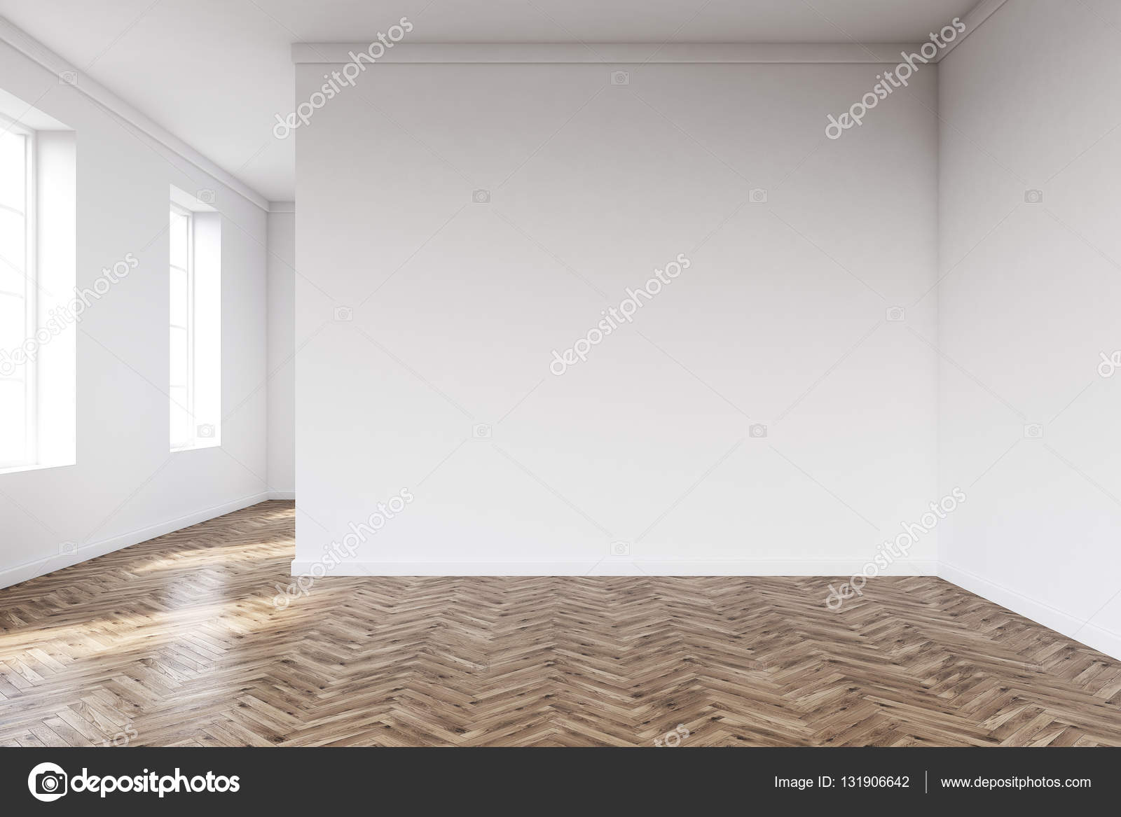 흰 벽과 나무 바닥 빈 룸 — 스톡 사진 © denisismagilov #131906642