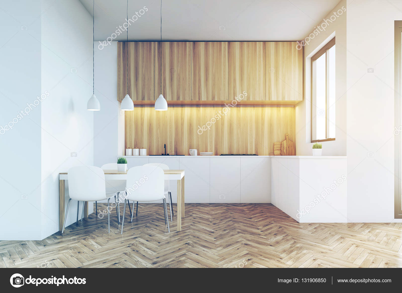 Küche Zähler nach oben mit hellen Holzmöbeln, getönt — Stockfoto ...