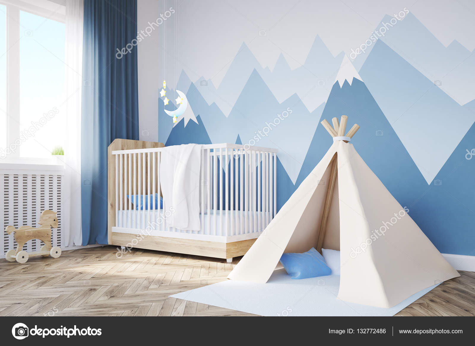 Gros plan de montagne, tente et chambre de bébé ...