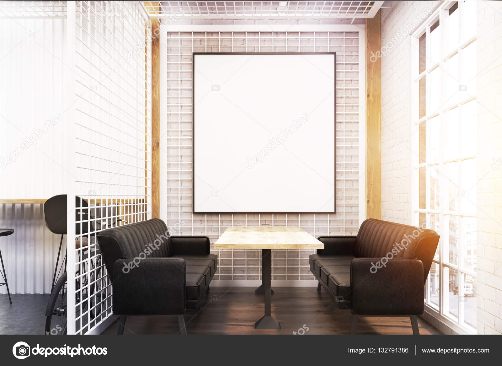 cafe interior with two soft sofas a wooden table and a large framed poster hanging on a wall with grate 3d rendering mock up - Large Cafe Interior