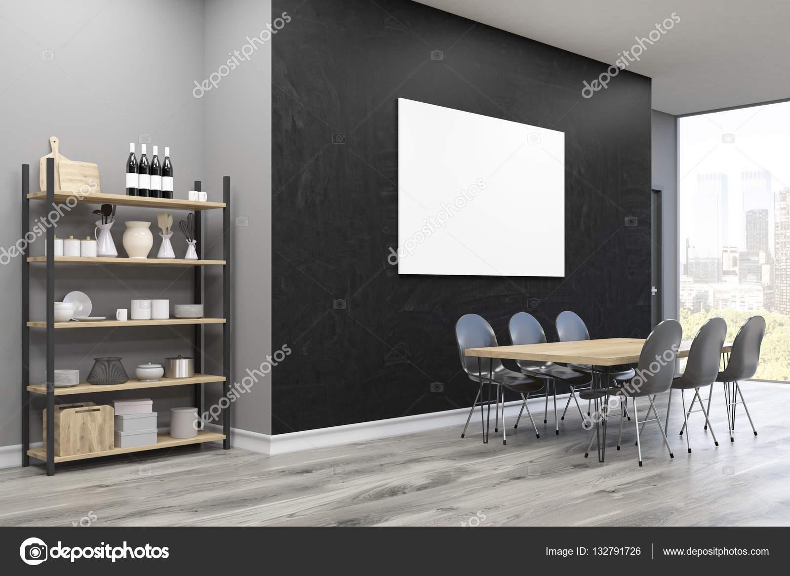 Zijaanzicht van de eetkamer: grote poster en kast — Stockfoto ...