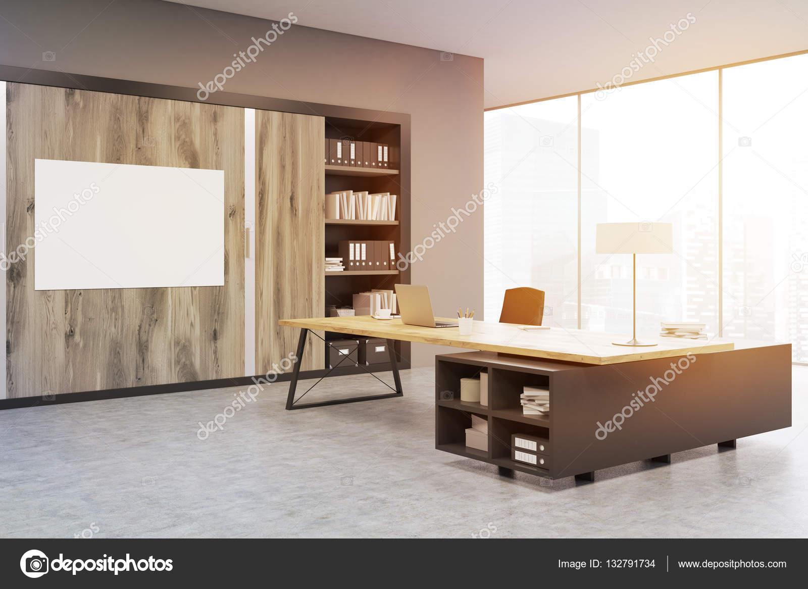 ecke ein büro mit holztüren und ein bücherregal, getönt — stockfoto