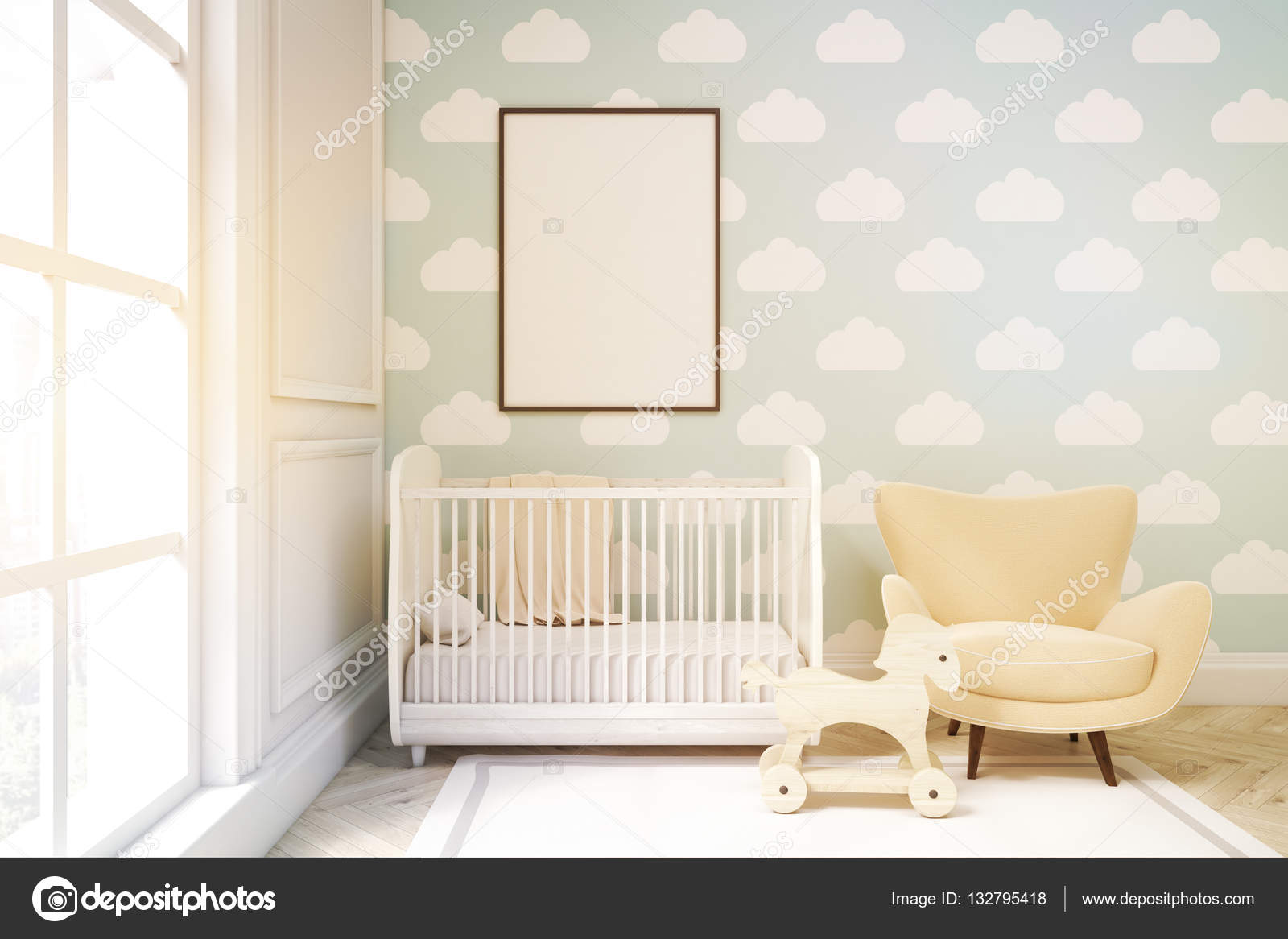 Behang Kinderkamer Scandinavisch : Close up van een kinderkamer met cloud behang op de muur van het