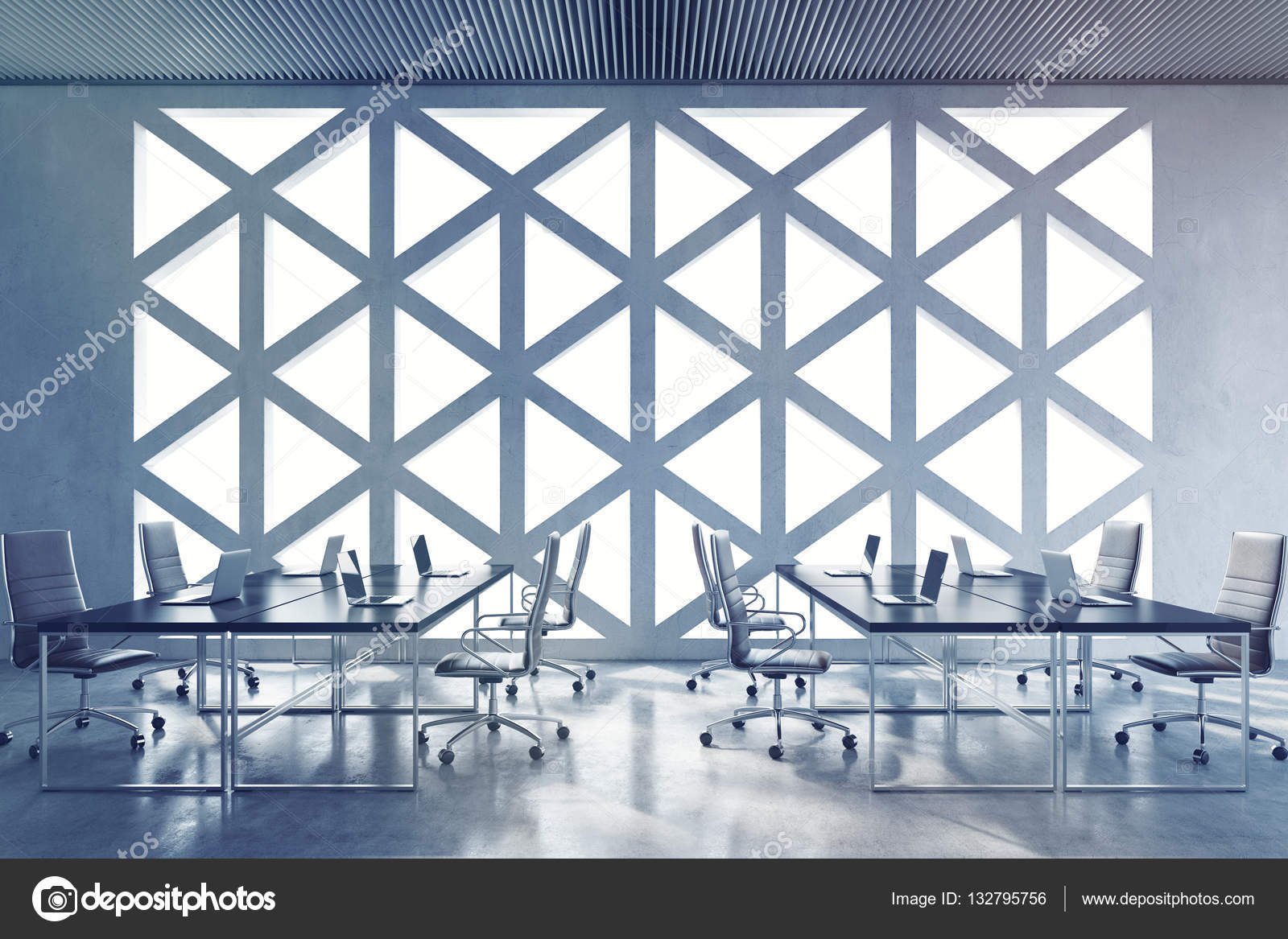 conference room with triangular window pattern stock photo