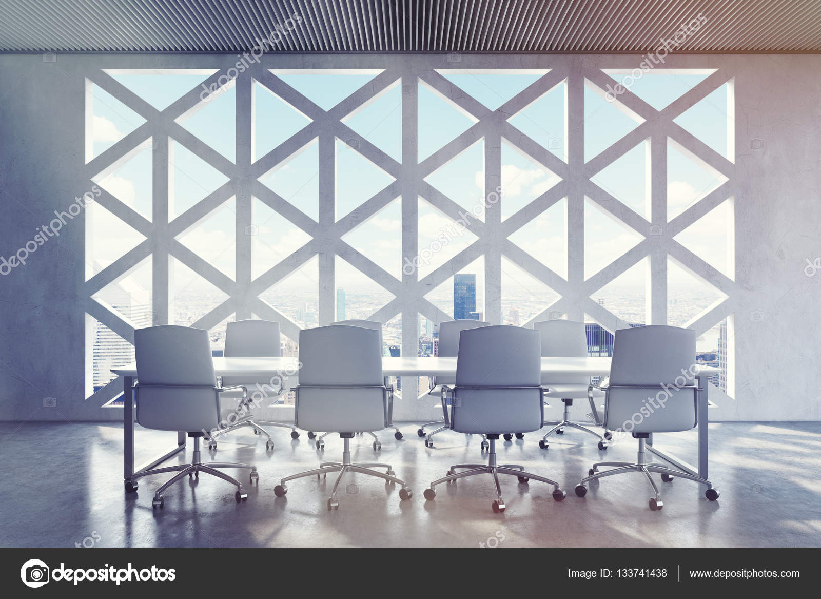 Conference Room Triangular Window City Stock Photo - Triangle conference table