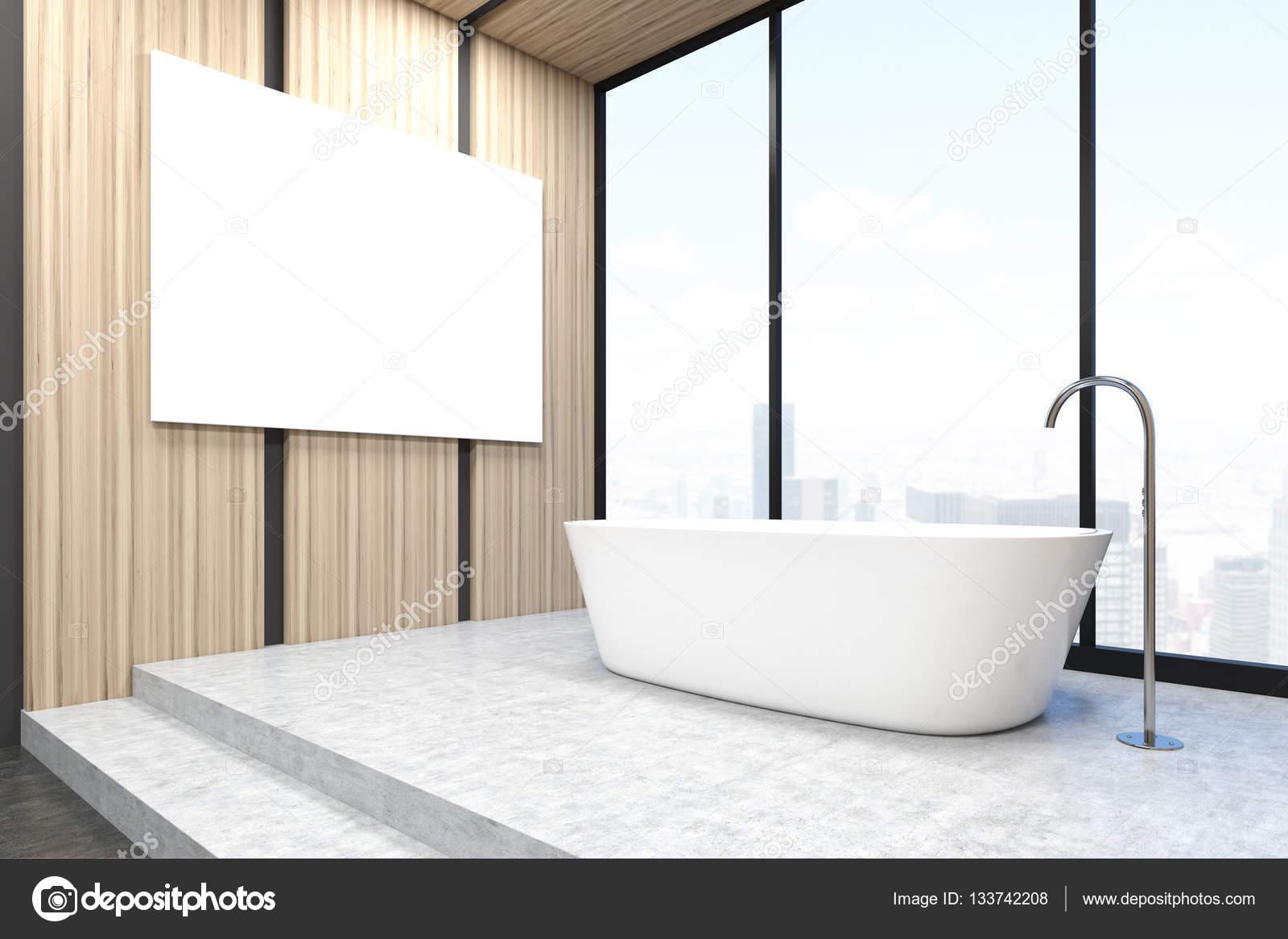 Badkamer hoek met een poster, lichte muren — Stockfoto ...