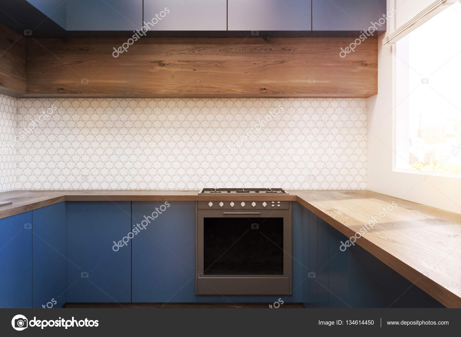 Interiore della cucina con mobili blu, tonica — Foto Stock ...