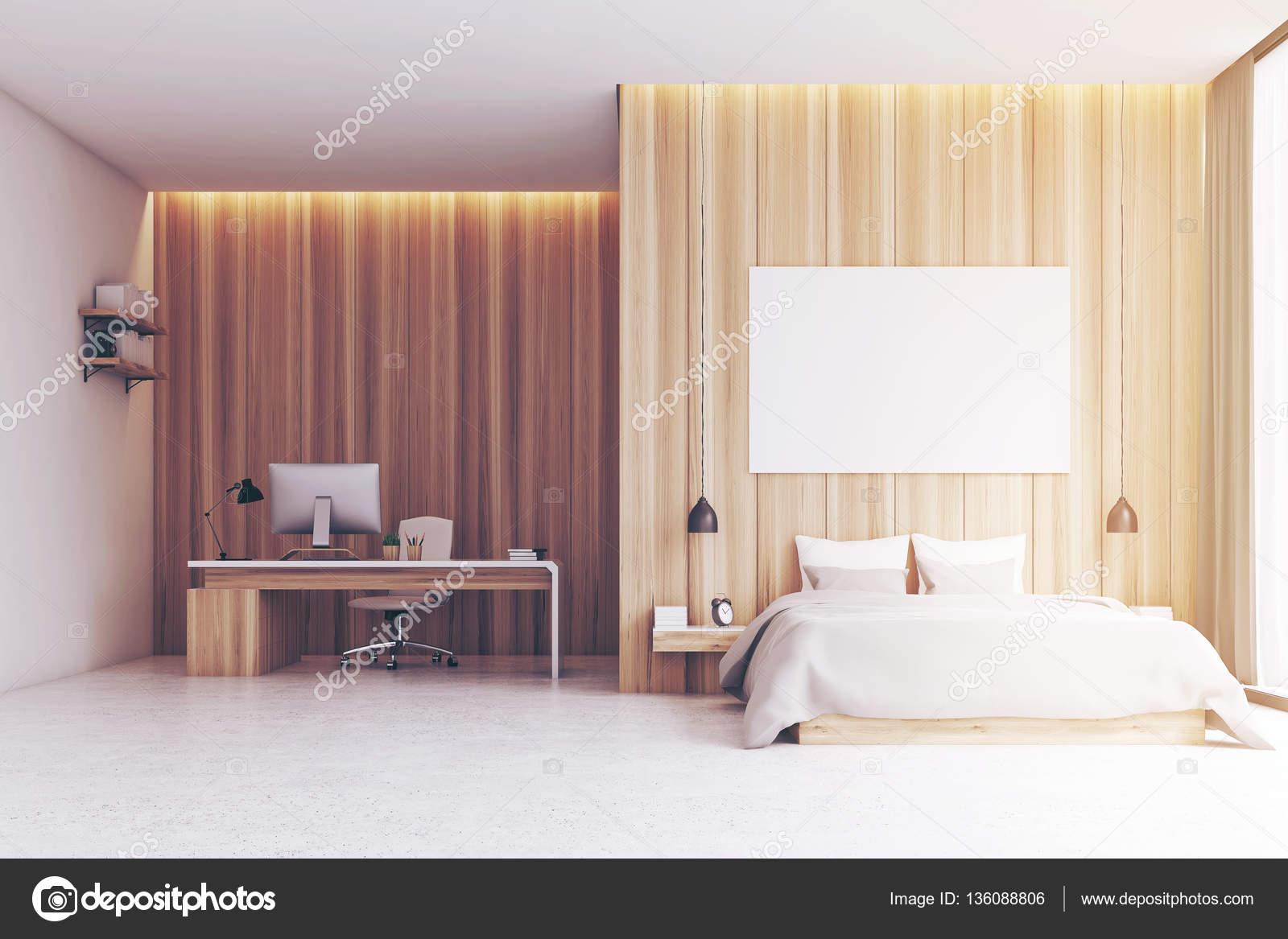 Slaapkamer Met Hout : Slaapkamer met studiegebied hout afgezwakt u2014 stockfoto
