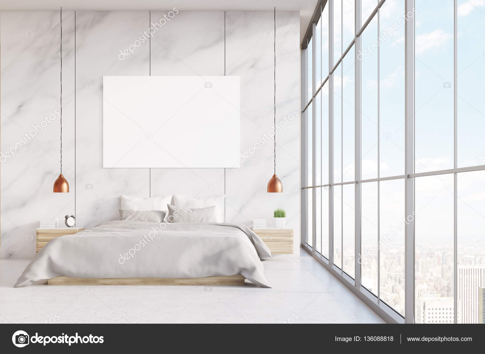 front view of a bedroom interior with a king size bed marble walls panoramic window and a horizontal poster 3d rendering mock up