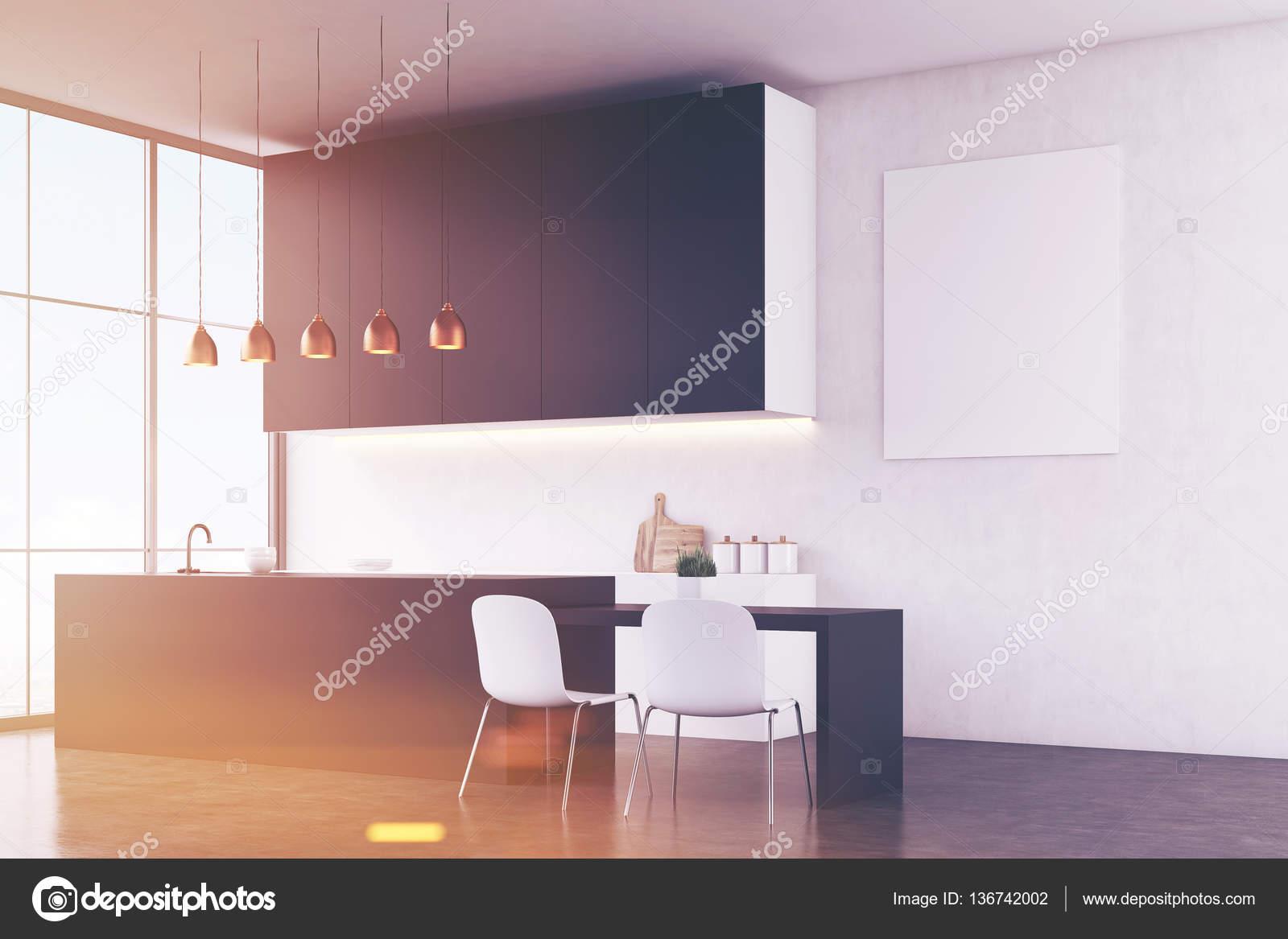 Küche Interieur: weiße Wand und Plakat — Stockfoto © denisismagilov ...