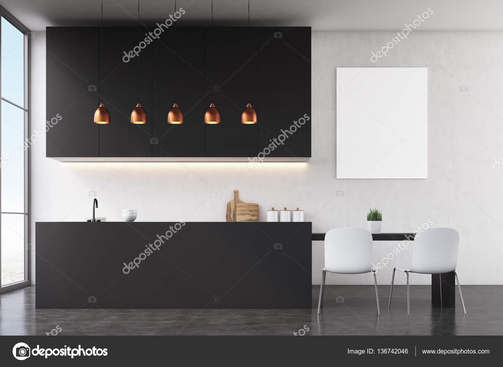 Interiore della cucina la parete nera poster u foto stock