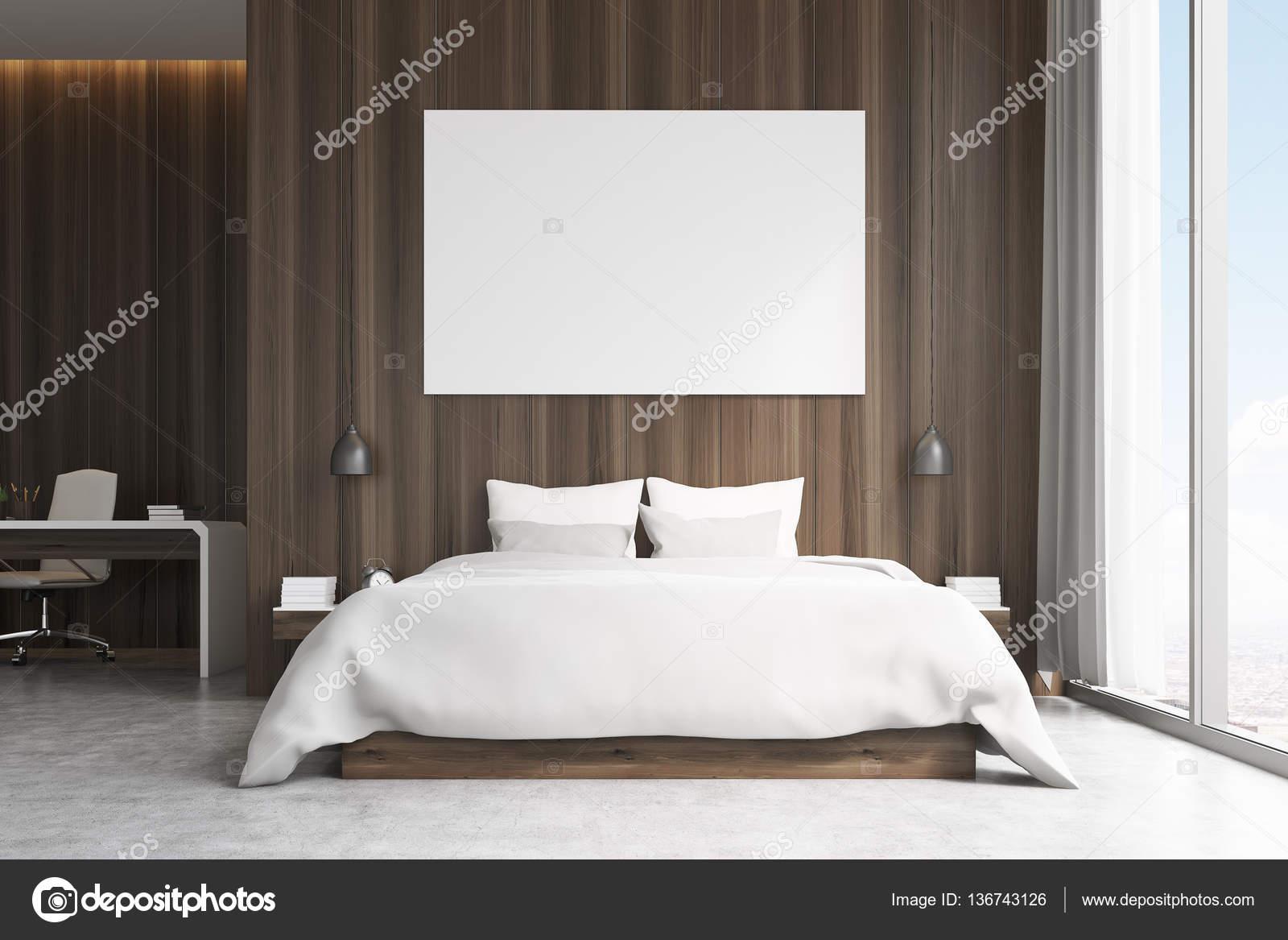 Camera da letto con zona studio, vista frontale — Foto Stock ...
