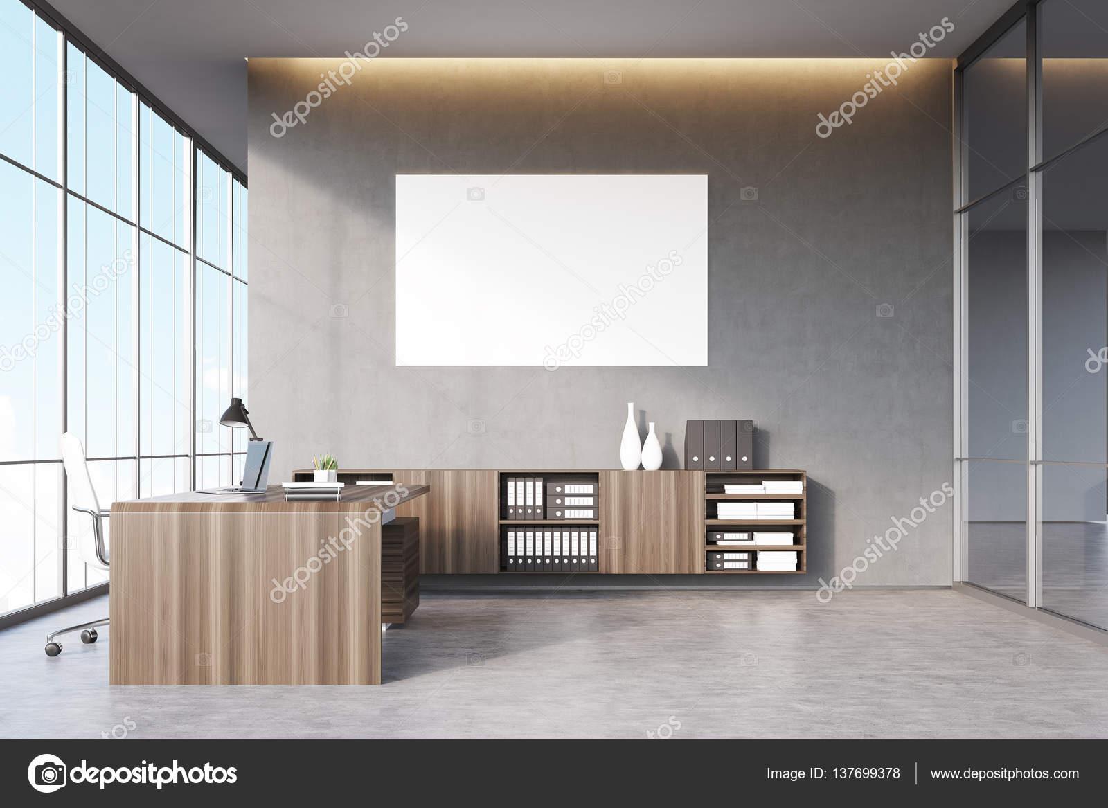 Director General Oficina Con Muebles De Madera Oscura Ventana  # Muebles Didecor