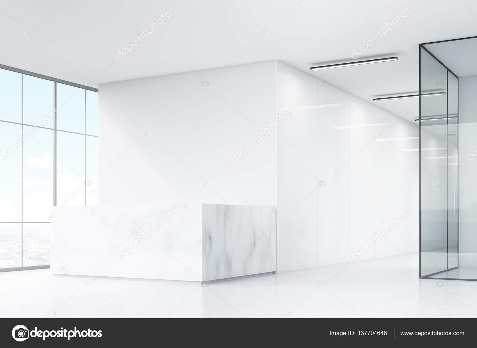 Coin de bureau blanc avec comptoir en marbre u photographie