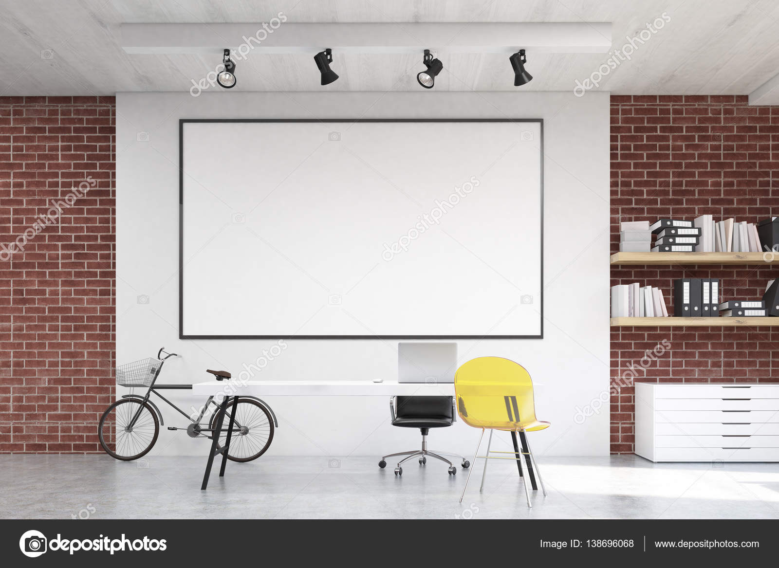 Home office with yellow chair and whiteboard — Stock Photo ...