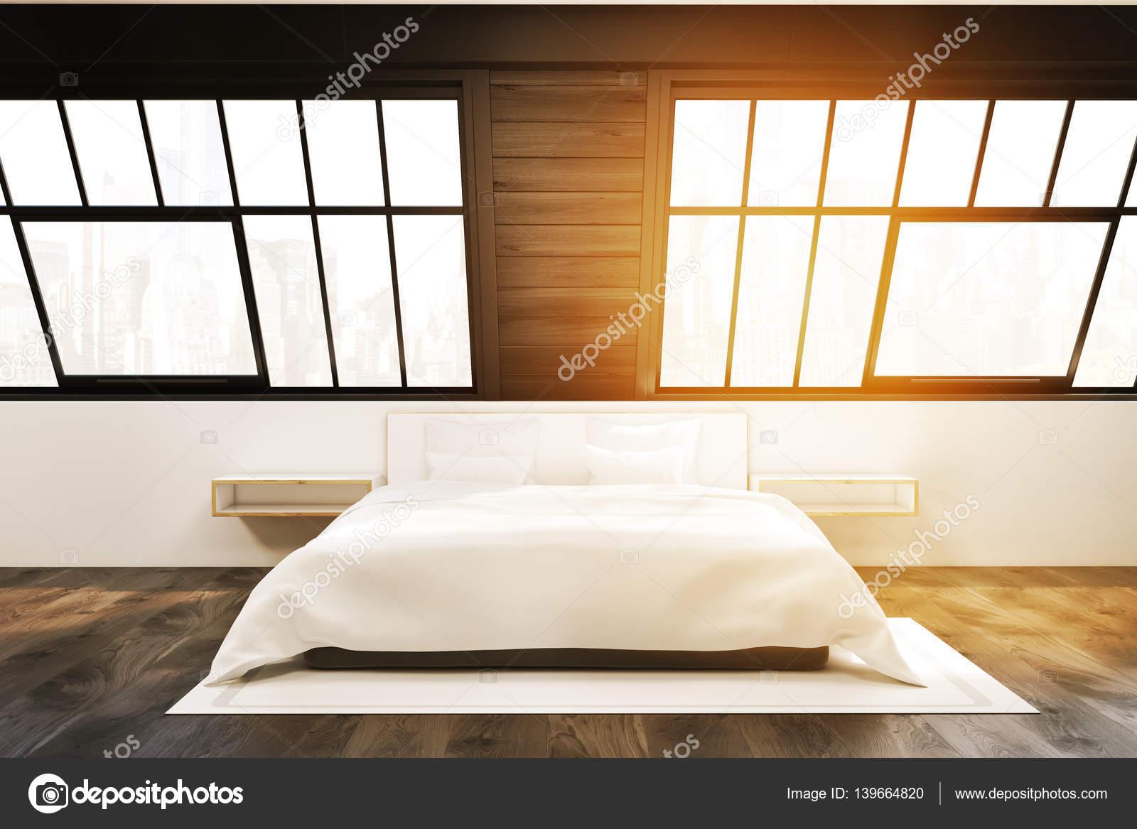 Vooraanzicht zolder slaapkamer met twee vensters afgezwakt
