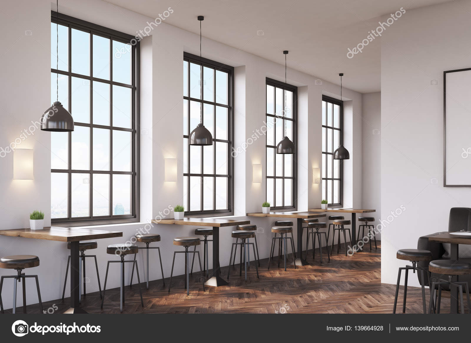 Picture of: Coffee Shop Interior With A Large Sofa Near A White Wall A Row Of Tables With