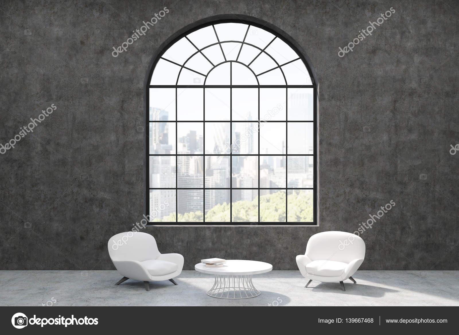 Minimalistisch Wohnzimmer Interieur mit Betonwänden, förmigen Bogen ...