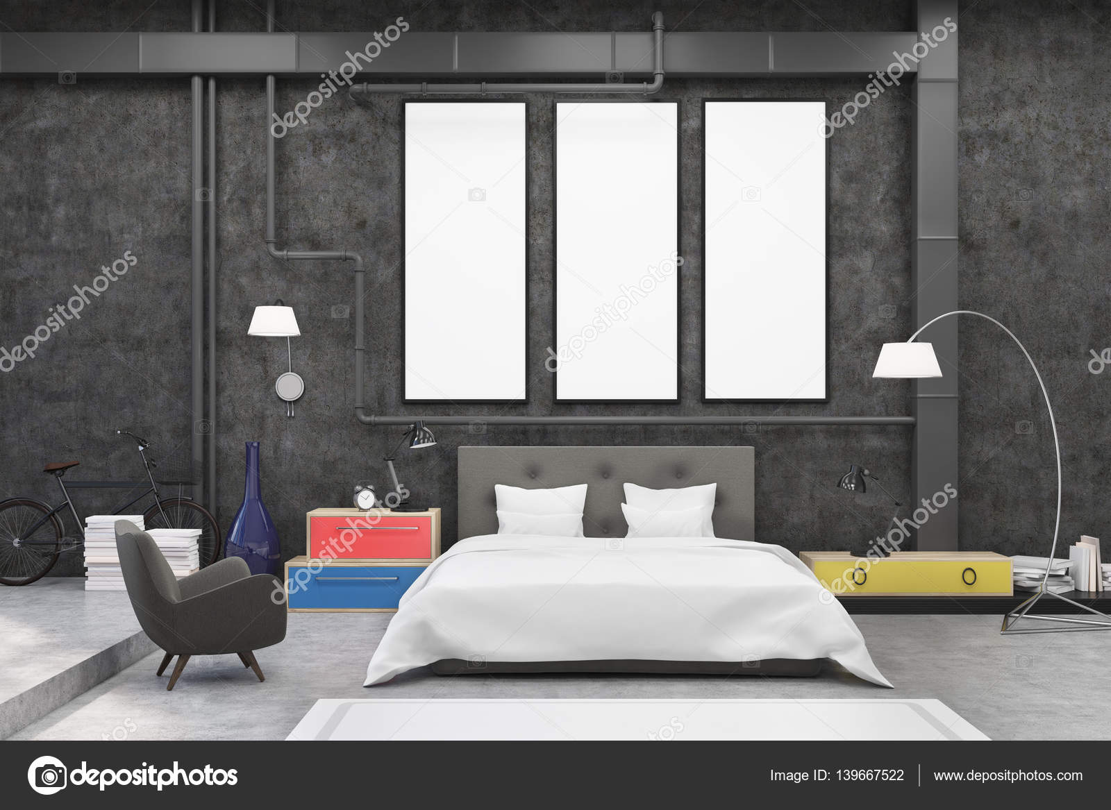 Slaapkamer Zwarte Muren : Slaapkamer interieur met zwarte muren en drie smalle verticale