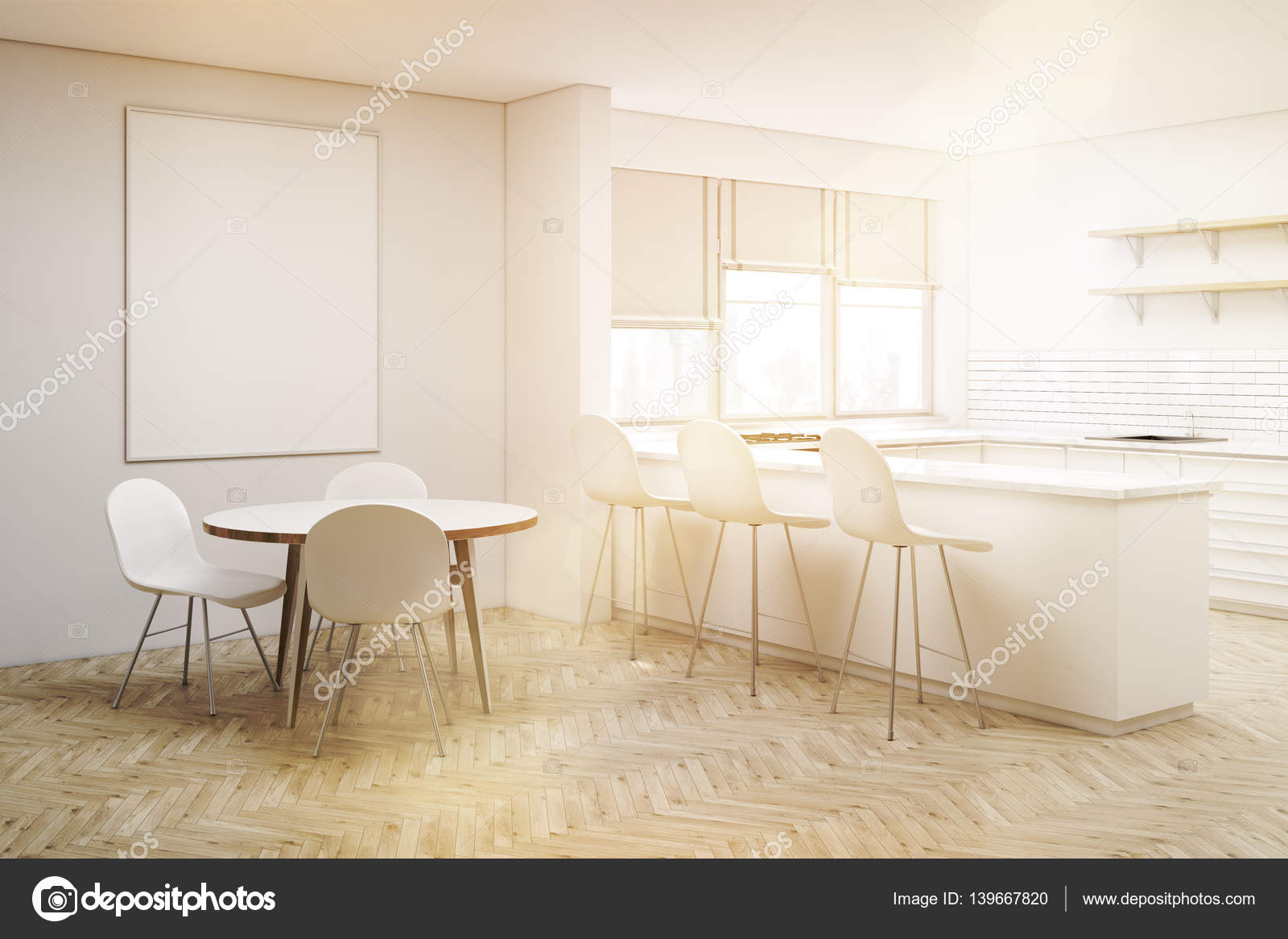 Angolo della cucina bianca con tavolo rotondo, tonica — Foto ...