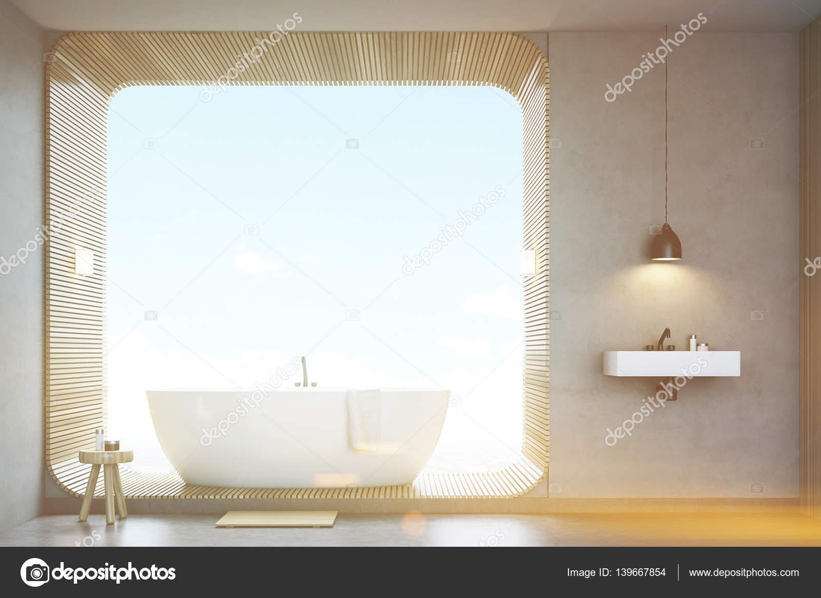 Bagno con lavandino e legno, vista frontale, tonica — Foto Stock ...