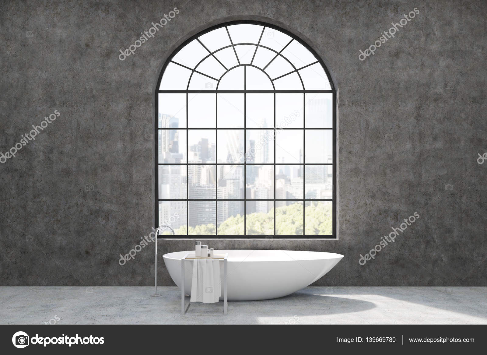 bathroom interior with concrete walls, arc shaped window with city