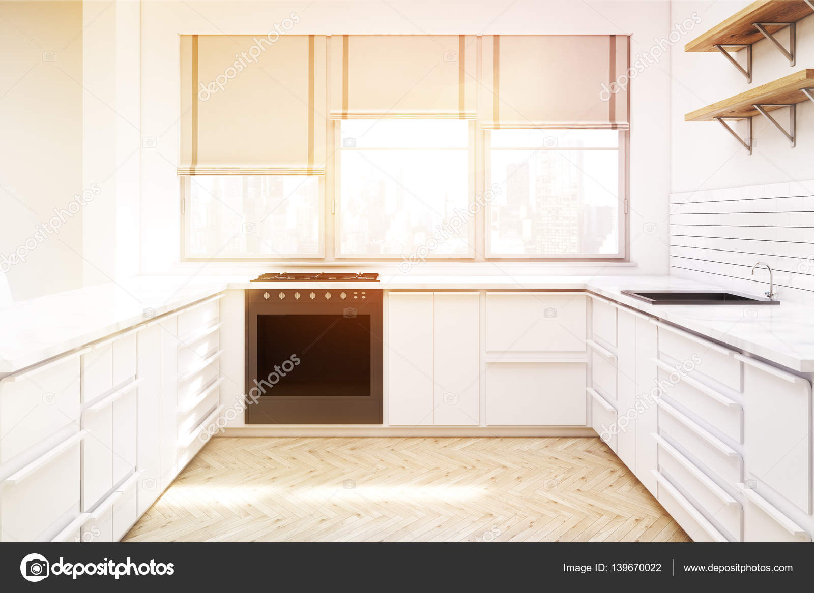Kitchen with countertops and shelves toned stock photo