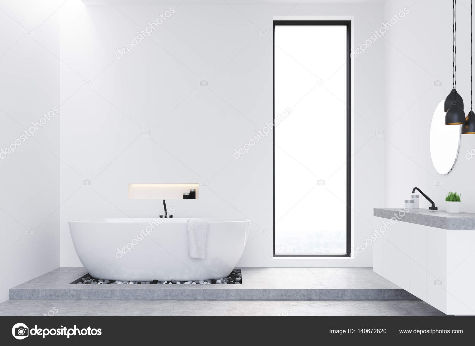 Badkamer met betonnen vloer u stockfoto denisismagilov
