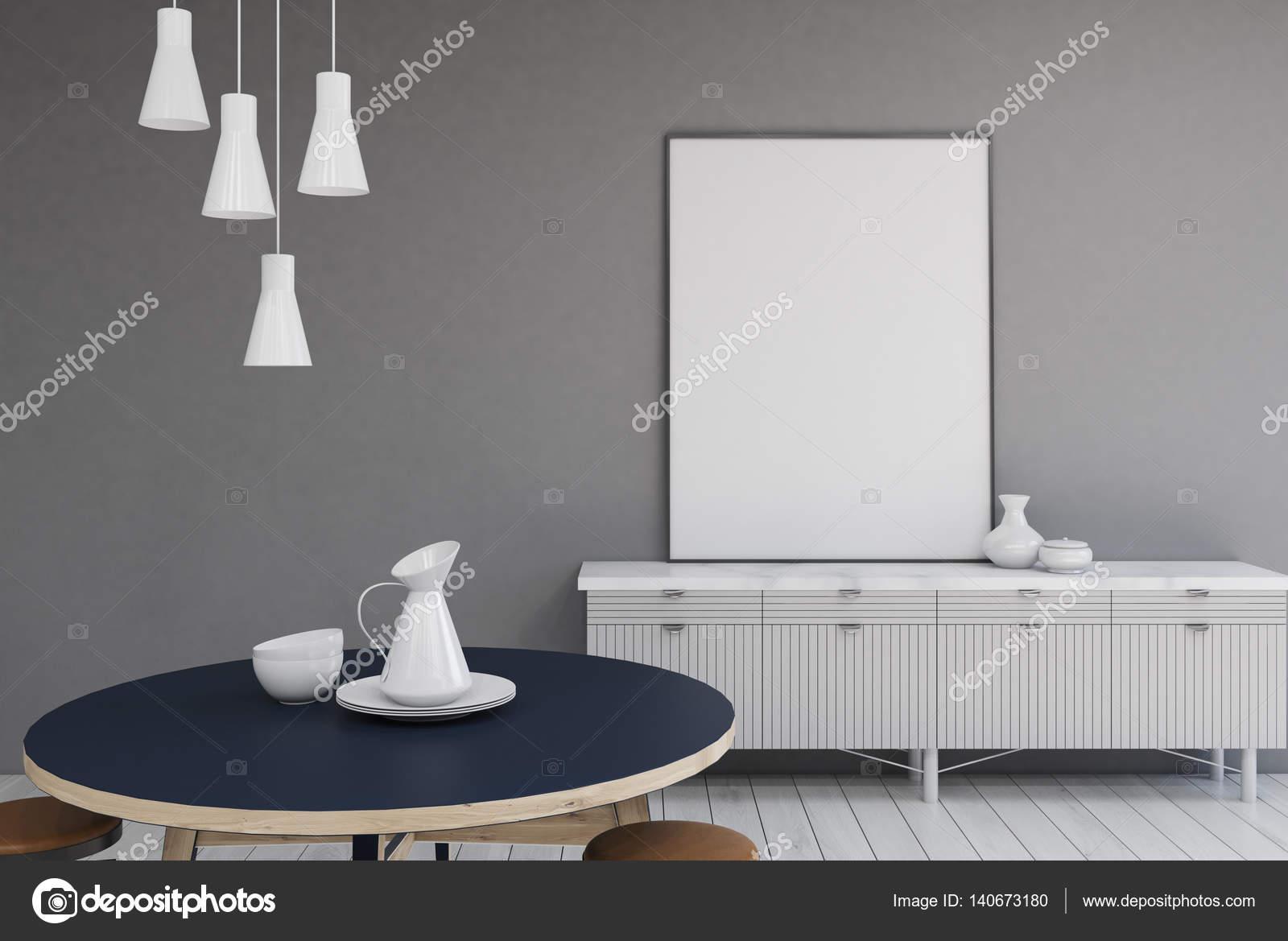 Grijze Muur Woonkamer : Woonkamer met grijze muren tabel u2014 stockfoto © denisismagilov