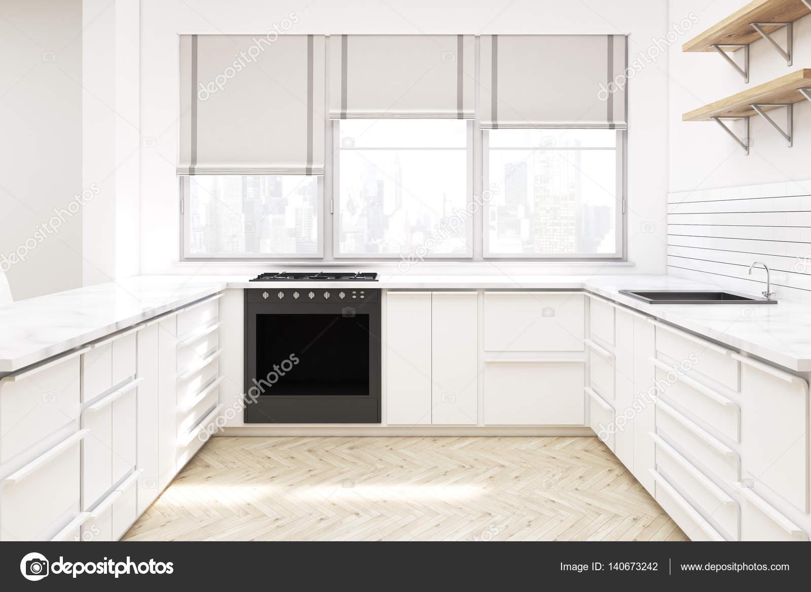 Uitzonderlijk Keuken met werkbladen en planken — Stockfoto © denisismagilov &FE92