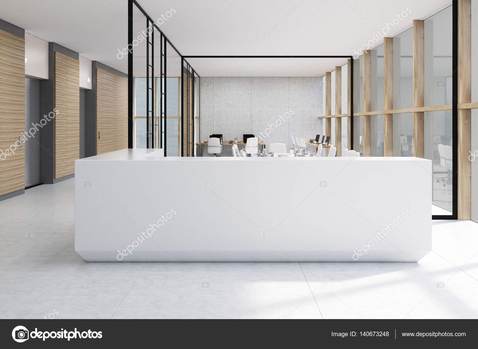 Weiße Rezeption und Glas-Büro — Stockfoto © denisismagilov #140673248