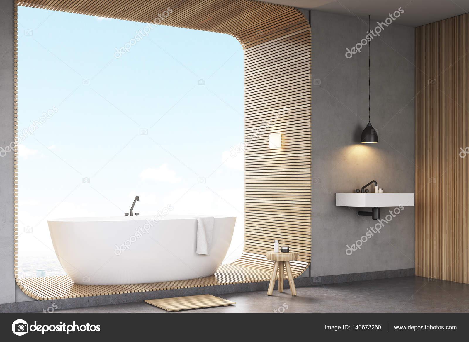 Zijaanzicht van de badkamer met hout — Stockfoto © denisismagilov ...