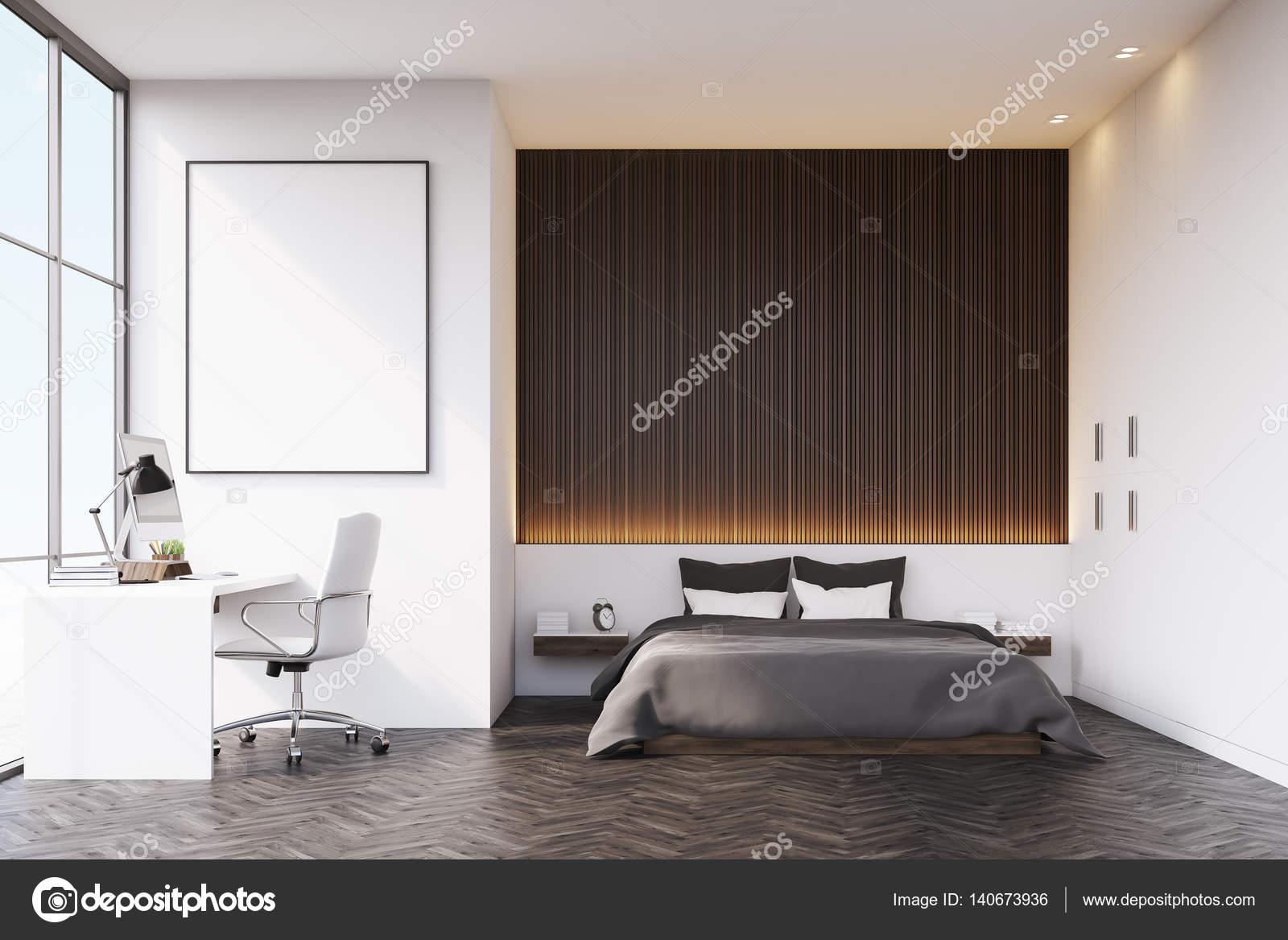 Schlafzimmer Mit Holzwand Und Tabelle U2014 Stockfoto