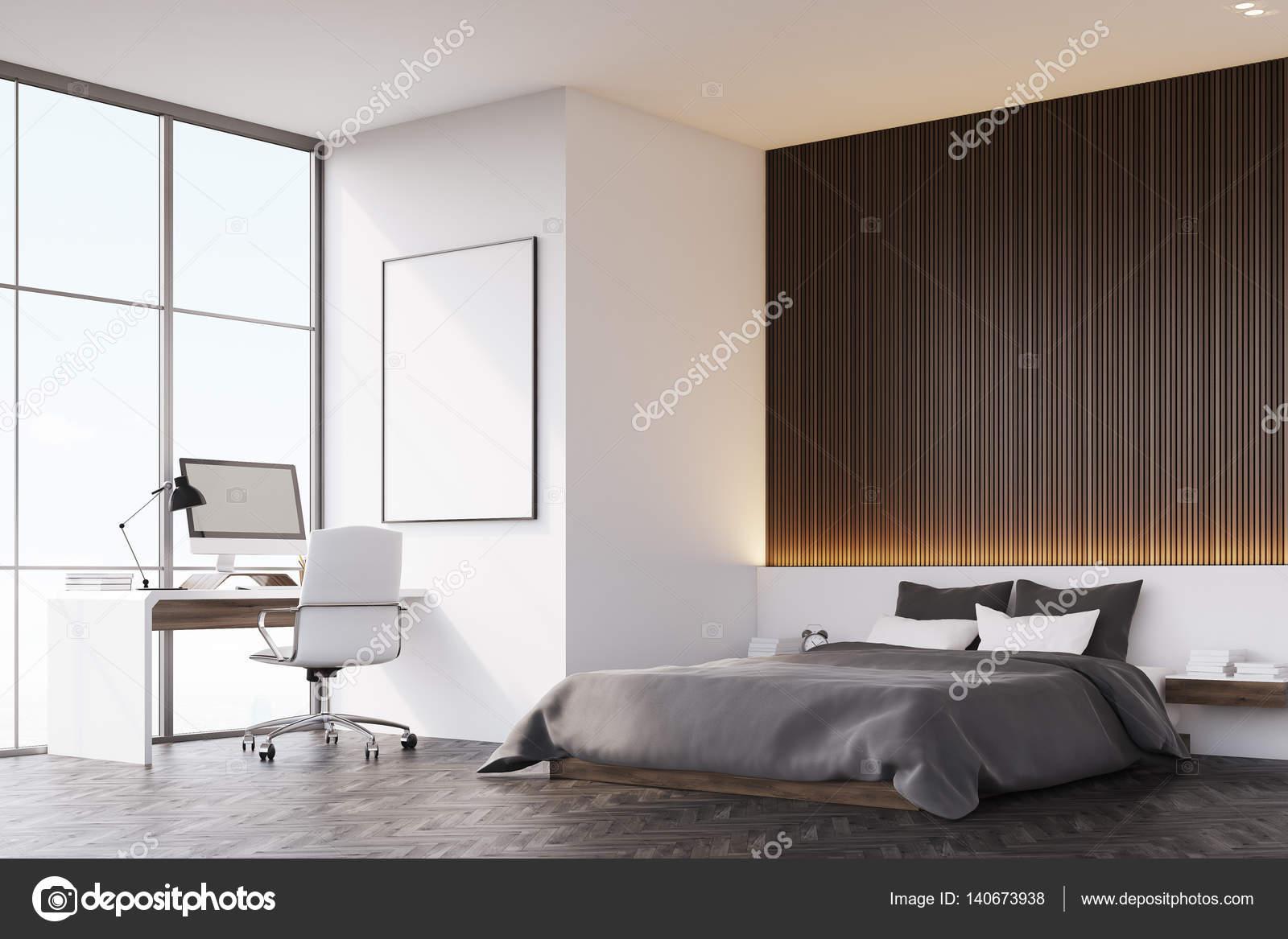 Schlafzimmer Mit Holzwand Und Tisch, Seitenansicht U2014 Stockfoto